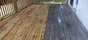 wood deck cleaning, pressure washing, before and after