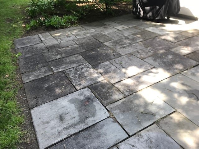 dirty, greasy tiled, patio and deck