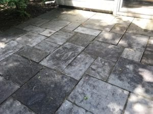 dirty patio and deck, tiled- bfore