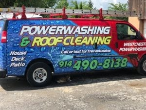 westchester power washing work van for roof cleaning, roof shampoo, house pressure cleaning 914-490-8138 free estimates