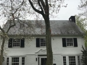 Before of a dirty roof, fungus, mold, mildew, shingle, asphalt roof, armonk, chappaqua, scarsdale, soft washed , roof shampoo