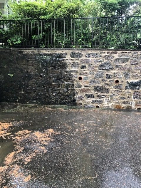 Katonah Bedford, Bedford Hills Somers, pressure washing, roof cleaning- stone wall pressure washed, black marks, oil, dirt, moss, mold, mildew, fungi, algae, soot, stains
